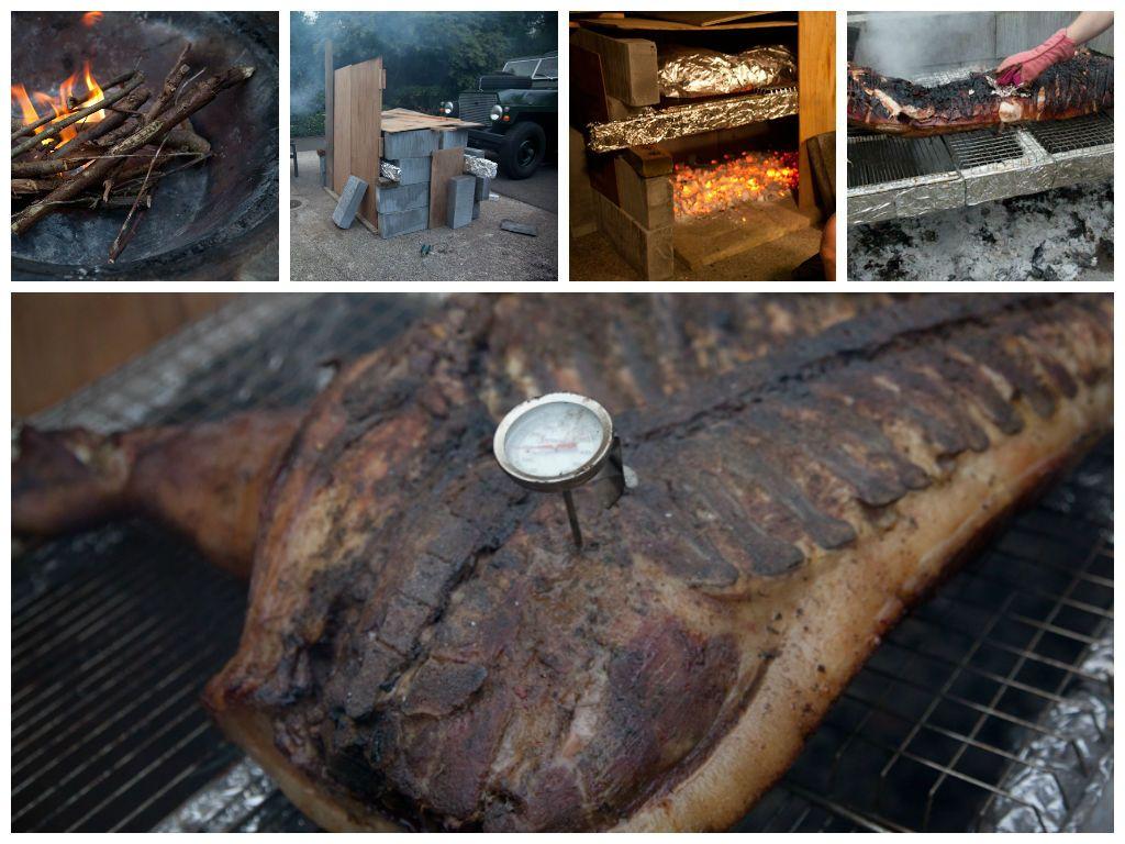 Hog roast during