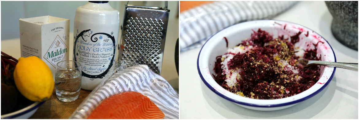 Image of ProWare's Beetroot and Vodka Cured Salmon prep