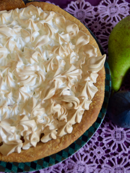 Chris' Pear, Fig and Ginger Meringue Flan