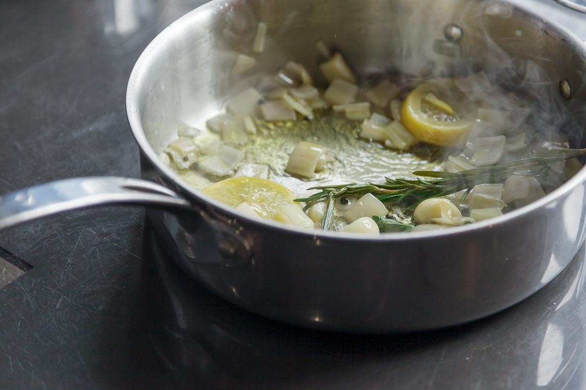 shallots in pan